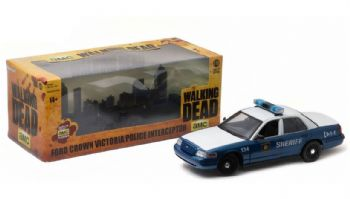 WALKING DEAD RICK & SHANE'S POLICE INTERCEPTOR 1:18 SCALE DIECAST GREENLIGHT
